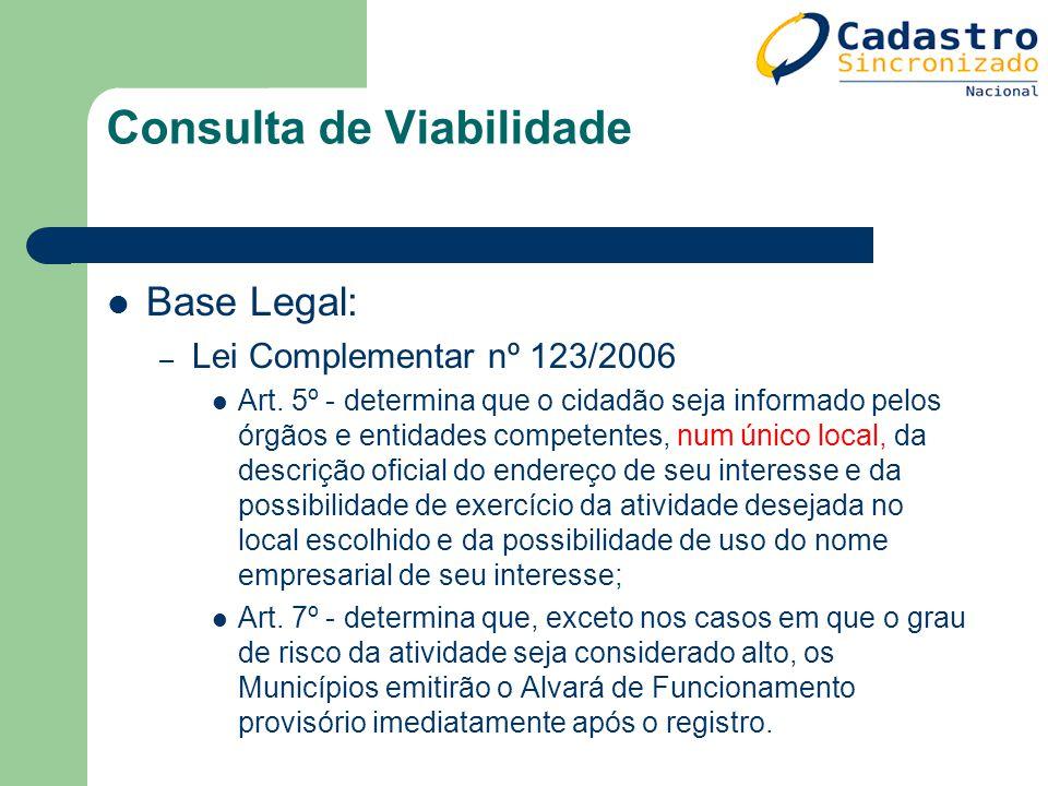 Consulta de Viabilidade Base Legal: – Lei Complementar nº 123/2006 Art. 5º - determina que o cidadão seja informado pelos órgãos e entidades competent