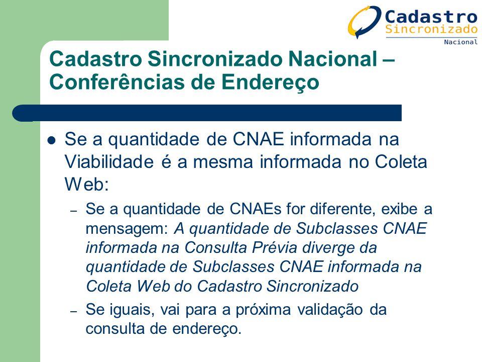 Cadastro Sincronizado Nacional – Conferências de Endereço Se a quantidade de CNAE informada na Viabilidade é a mesma informada no Coleta Web: – Se a q