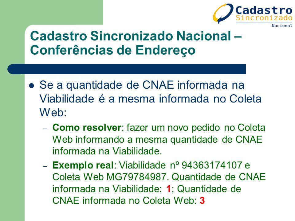 Cadastro Sincronizado Nacional – Conferências de Endereço Se a quantidade de CNAE informada na Viabilidade é a mesma informada no Coleta Web: – Como r