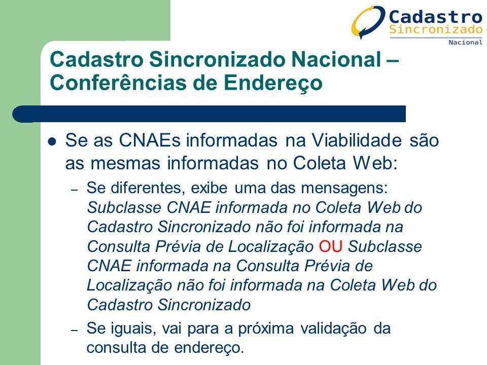 Cadastro Sincronizado Nacional – Conferências de Endereço Se as CNAEs informadas na Viabilidade são as mesmas informadas no Coleta Web: – Se diferente