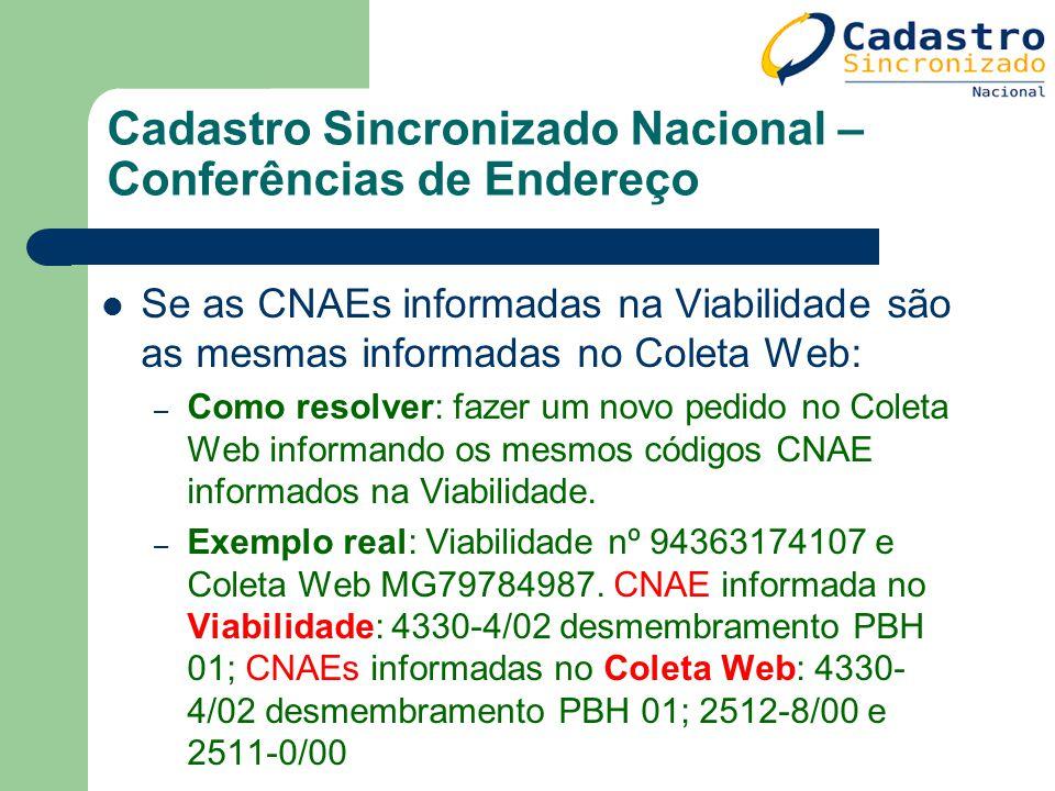 Cadastro Sincronizado Nacional – Conferências de Endereço Se as CNAEs informadas na Viabilidade são as mesmas informadas no Coleta Web: – Como resolve