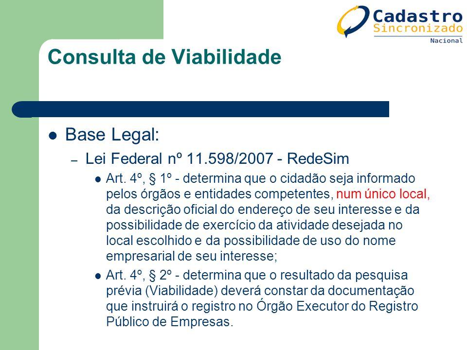 Consulta de Viabilidade Base Legal: – Lei Federal nº 11.598/2007 - RedeSim Art. 4º, § 1º - determina que o cidadão seja informado pelos órgãos e entid