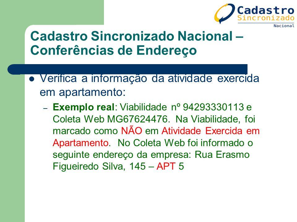 Cadastro Sincronizado Nacional – Conferências de Endereço Verifica a informação da atividade exercida em apartamento: – Exemplo real: Viabilidade nº 9