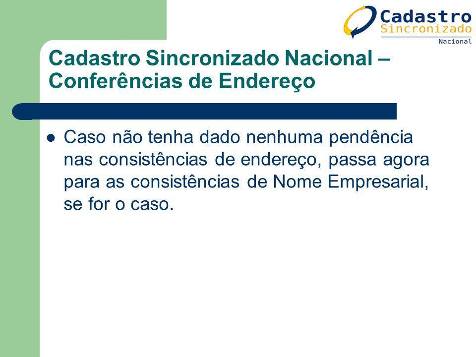 Cadastro Sincronizado Nacional – Conferências de Endereço Caso não tenha dado nenhuma pendência nas consistências de endereço, passa agora para as con