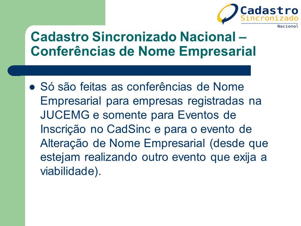 Cadastro Sincronizado Nacional – Conferências de Nome Empresarial Só são feitas as conferências de Nome Empresarial para empresas registradas na JUCEM