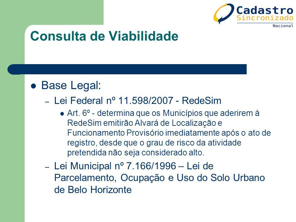 Consulta de Viabilidade Base Legal: – Lei Federal nº 11.598/2007 - RedeSim Art. 6º - determina que os Municípios que aderirem à RedeSim emitirão Alvar