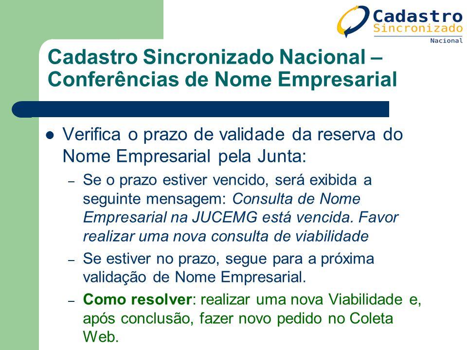 Cadastro Sincronizado Nacional – Conferências de Nome Empresarial Verifica o prazo de validade da reserva do Nome Empresarial pela Junta: – Se o prazo