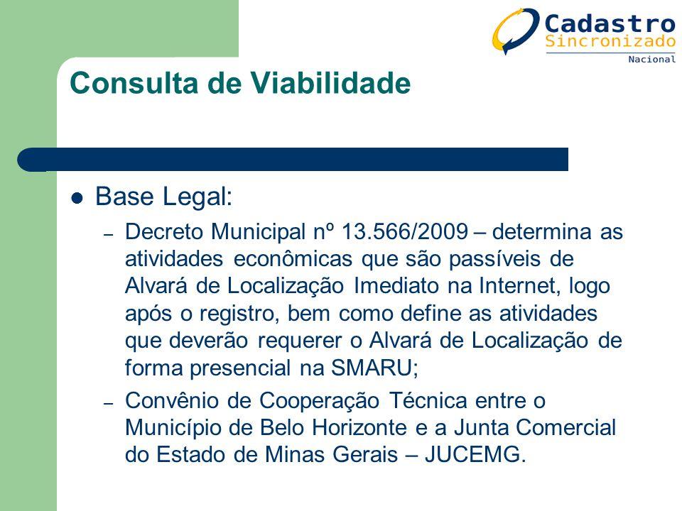 Consulta de Viabilidade Base Legal: – Decreto Municipal nº 13.566/2009 – determina as atividades econômicas que são passíveis de Alvará de Localização