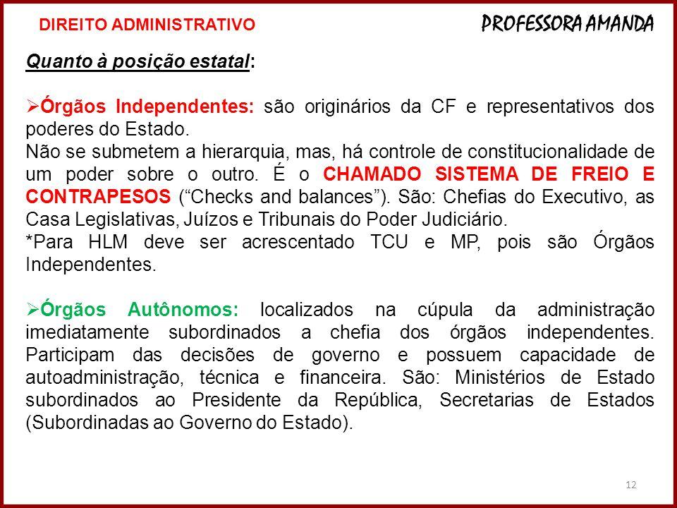 12 Quanto à posição estatal: Órgãos Independentes: são originários da CF e representativos dos poderes do Estado. Não se submetem a hierarquia, mas, h