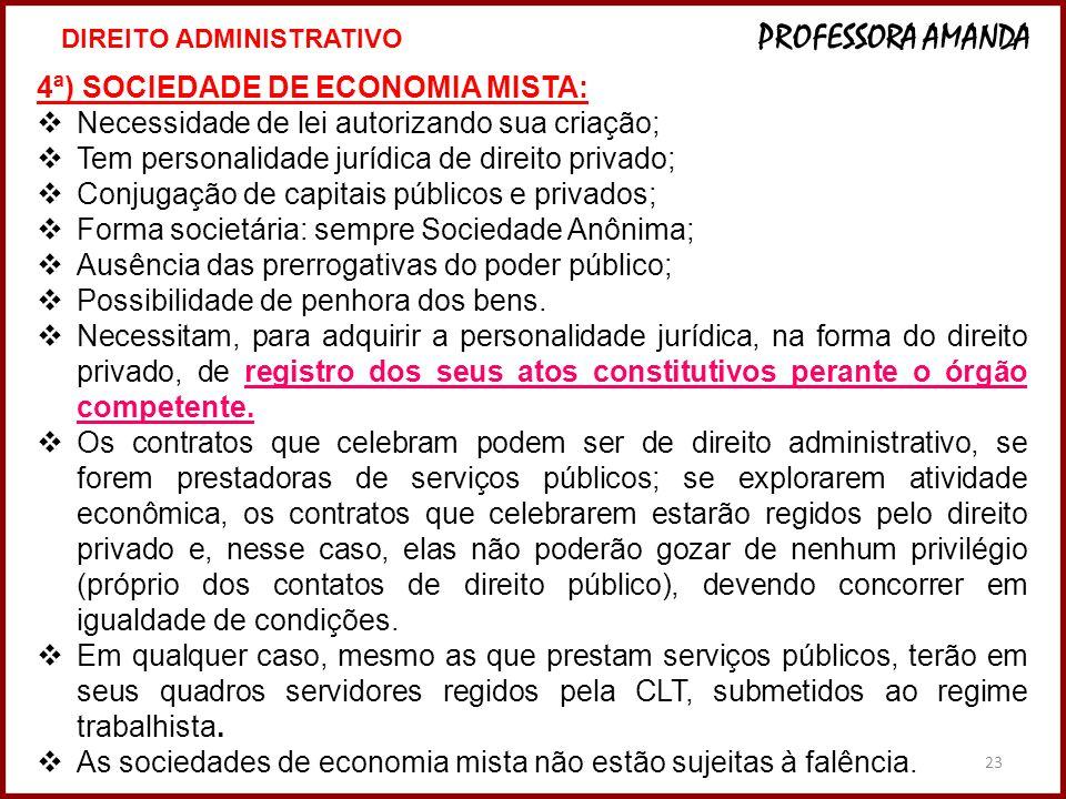 23 4ª) SOCIEDADE DE ECONOMIA MISTA: Necessidade de lei autorizando sua criação; Tem personalidade jurídica de direito privado; Conjugação de capitais