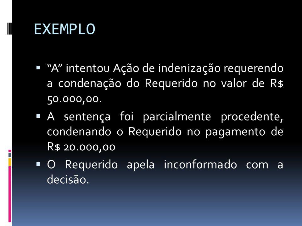 EXEMPLO A intentou Ação de indenização requerendo a condenação do Requerido no valor de R$ 50.000,00.