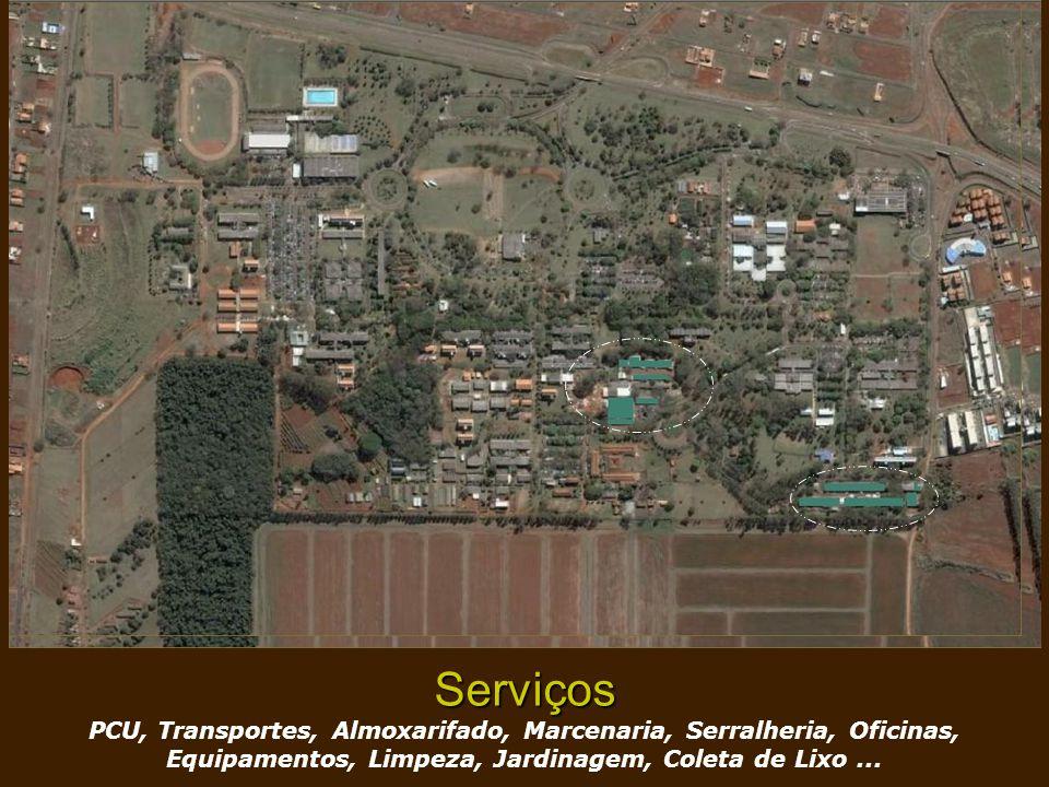 Serviços PCU, Transportes, Almoxarifado, Marcenaria, Serralheria, Oficinas, Equipamentos, Limpeza, Jardinagem, Coleta de Lixo...