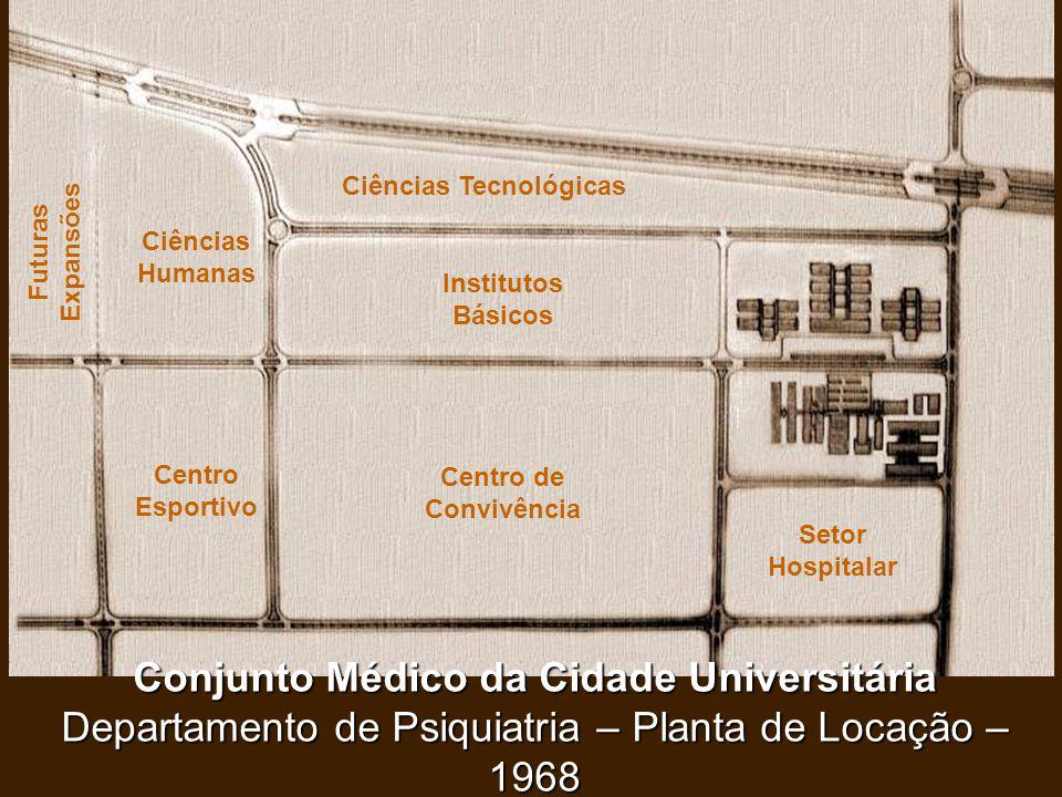 Conjunto Médico da Cidade Universitária Departamento de Psiquiatria – Planta de Locação – 1968 Setor Hospitalar Centro de Convivência Institutos Básic