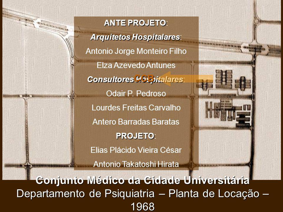 Conjunto Médico da Cidade Universitária Departamento de Psiquiatria – Planta de Locação – 1968 ANTE PROJETO ANTE PROJETO: Arquitetos Hospitalares Arqu