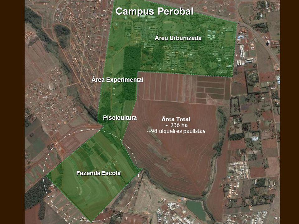 Área Urbanizada Fazenda Escola Área Experimental Piscicultura Campus Perobal Área Total ~ 236 ha ~98 alqueires paulistas