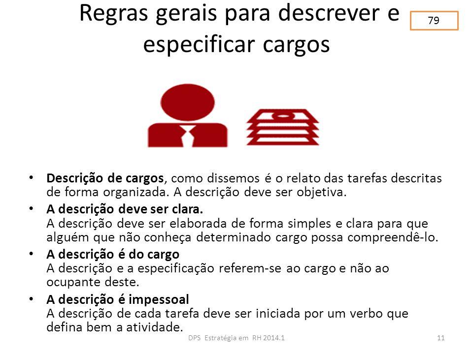 Regras gerais para descrever e especificar cargos Descrição de cargos, como dissemos é o relato das tarefas descritas de forma organizada. A descrição