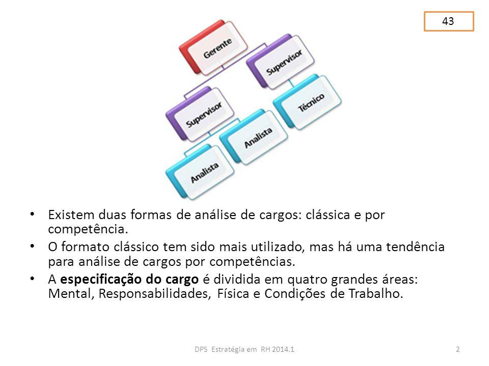 Existem duas formas de análise de cargos: clássica e por competência. O formato clássico tem sido mais utilizado, mas há uma tendência para análise de