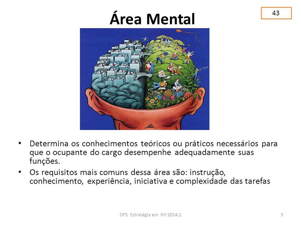 Área Mental Determina os conhecimentos teóricos ou práticos necessários para que o ocupante do cargo desempenhe adequadamente suas funções. Os requisi