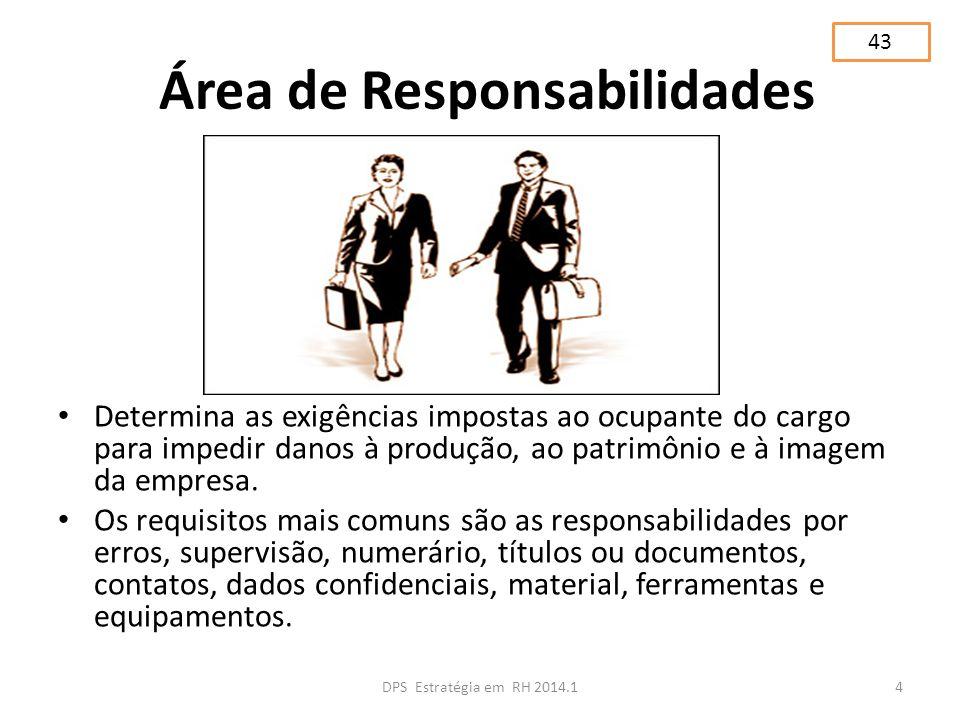 Área de Responsabilidades Determina as exigências impostas ao ocupante do cargo para impedir danos à produção, ao patrimônio e à imagem da empresa. Os