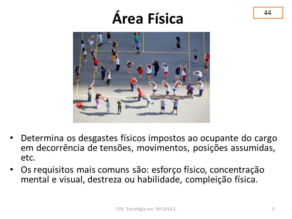 Área Física Determina os desgastes físicos impostos ao ocupante do cargo em decorrência de tensões, movimentos, posições assumidas, etc. Os requisitos