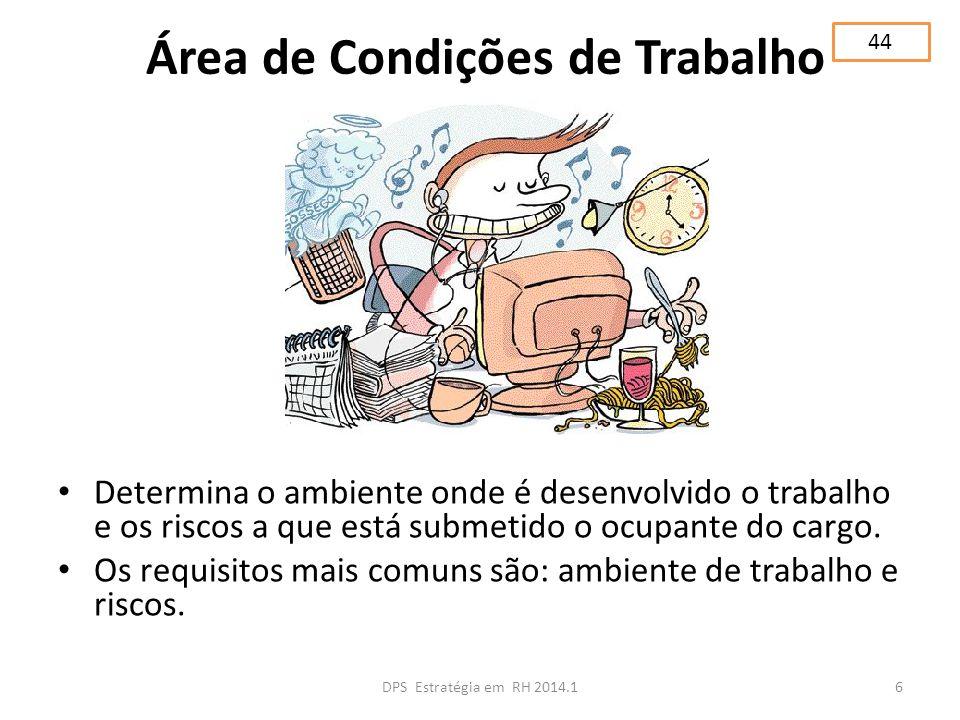 Área de Condições de Trabalho Determina o ambiente onde é desenvolvido o trabalho e os riscos a que está submetido o ocupante do cargo. Os requisitos