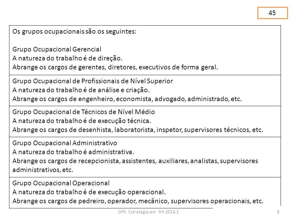 Os grupos ocupacionais são os seguintes: Grupo Ocupacional Gerencial A natureza do trabalho é de direção. Abrange os cargos de gerentes, diretores, ex