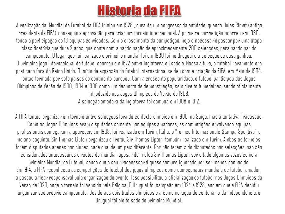 A realização da Mundial de Futebol da FIFA iniciou em 1928, durante um congresso da entidade, quando Jules Rimet (antigo presidente da FIFA) conseguiu