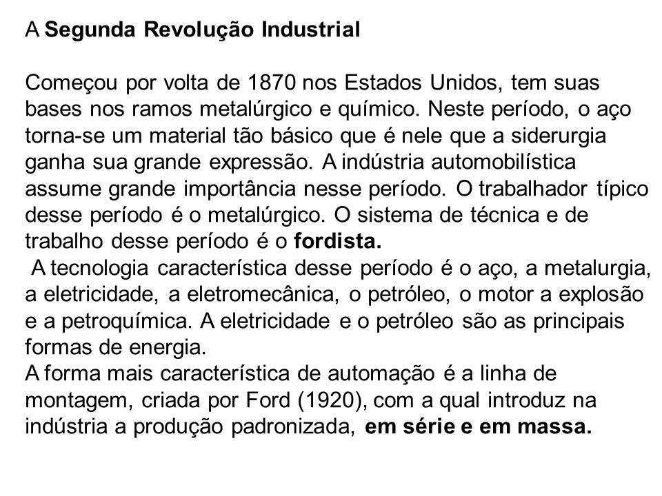 A Segunda Revolução Industrial Começou por volta de 1870 nos Estados Unidos, tem suas bases nos ramos metalúrgico e químico. Neste período, o aço torn