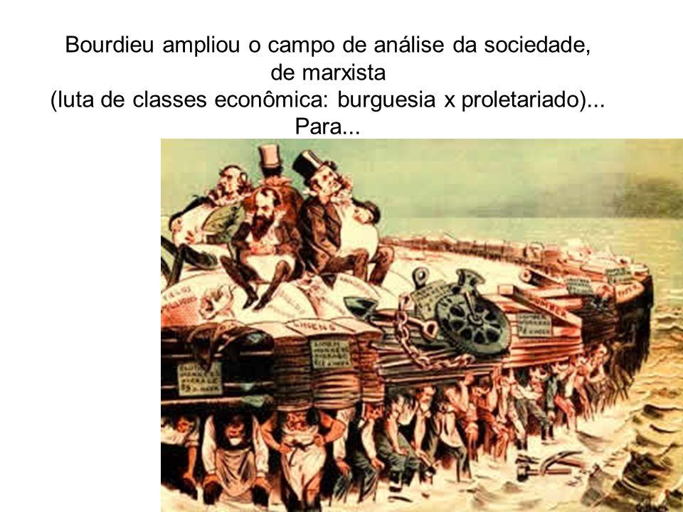 Bourdieu ampliou o campo de análise da sociedade, de marxista (luta de classes econômica: burguesia x proletariado)... Para...