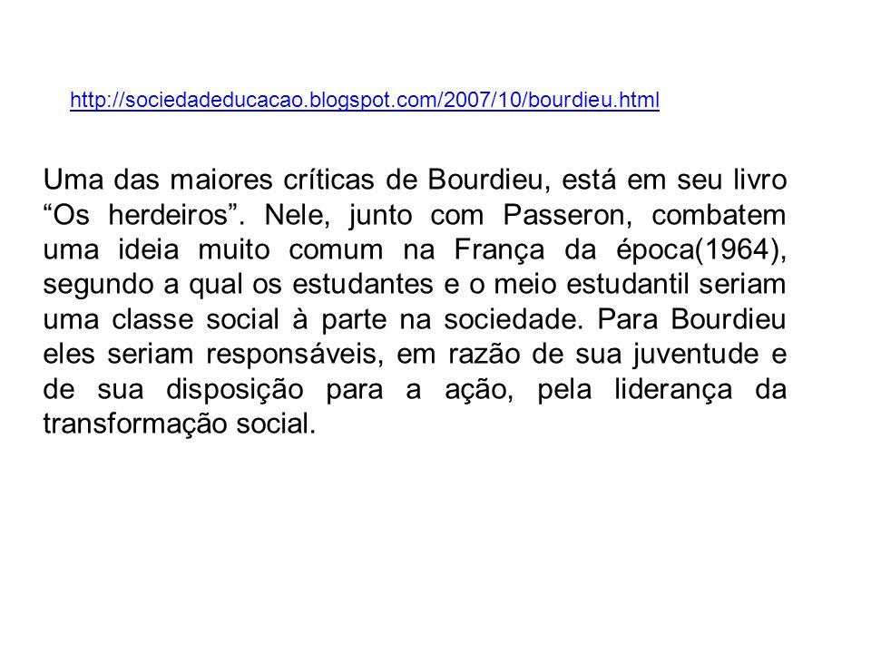 Uma das maiores críticas de Bourdieu, está em seu livro Os herdeiros. Nele, junto com Passeron, combatem uma ideia muito comum na França da época(1964