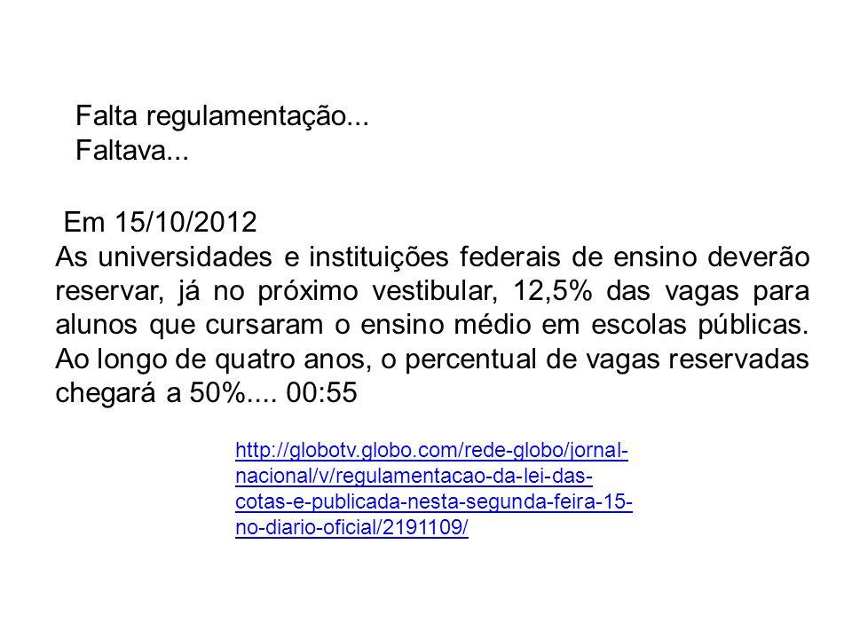 Falta regulamentação... Faltava... Em 15/10/2012 As universidades e instituições federais de ensino deverão reservar, já no próximo vestibular, 12,5%