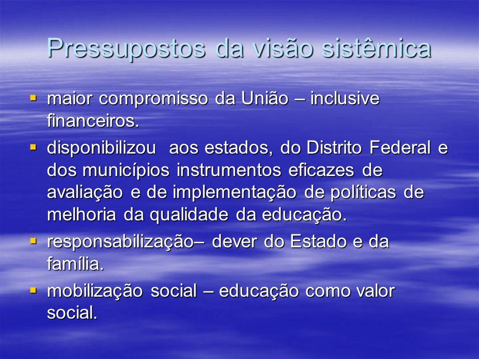 Pressupostos da visão sistêmica maior compromisso da União – inclusive financeiros.