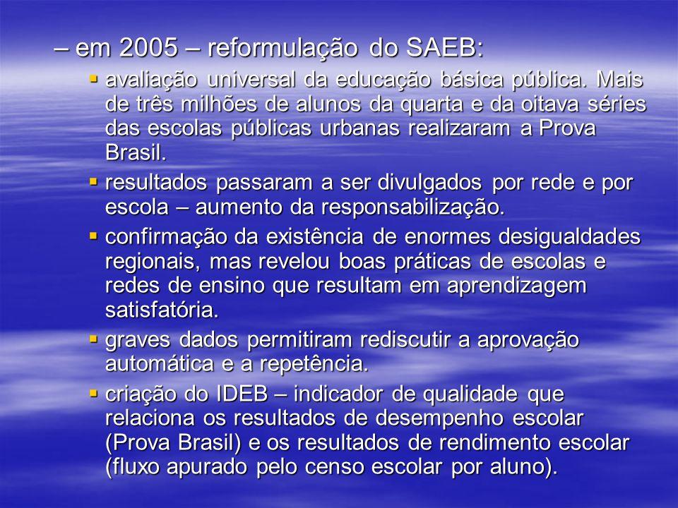–em 2005 – reformulação do SAEB: avaliação universal da educação básica pública. Mais de três milhões de alunos da quarta e da oitava séries das escol