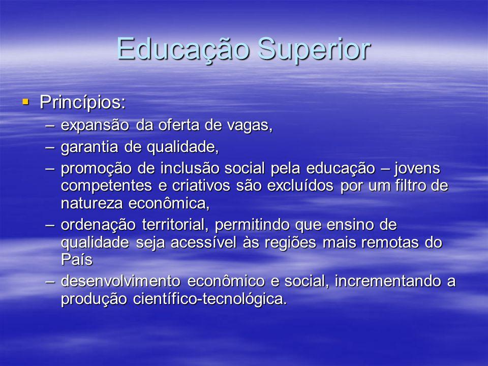Educação Superior Princípios: Princípios: –expansão da oferta de vagas, –garantia de qualidade, –promoção de inclusão social pela educação – jovens co