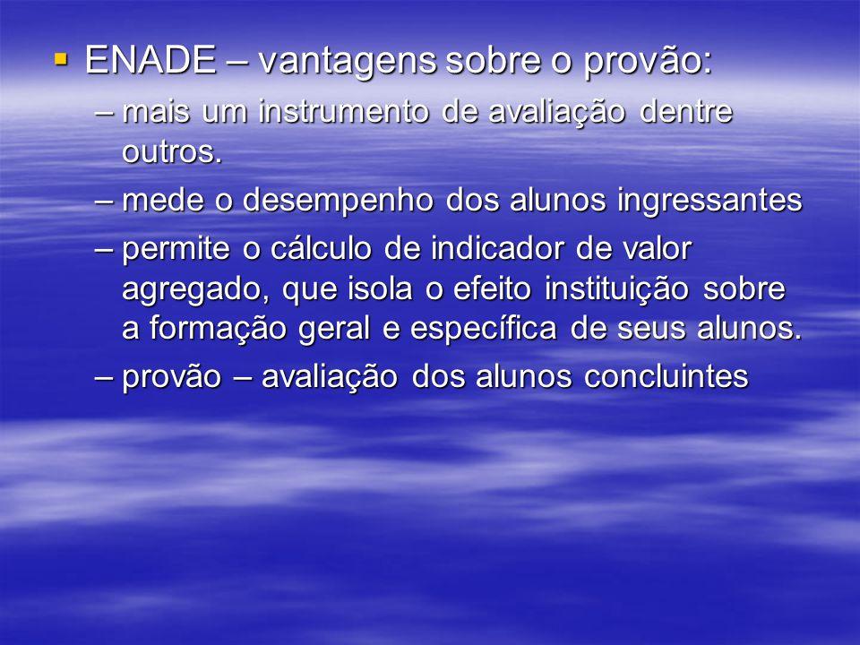 ENADE – vantagens sobre o provão: ENADE – vantagens sobre o provão: –mais um instrumento de avaliação dentre outros.