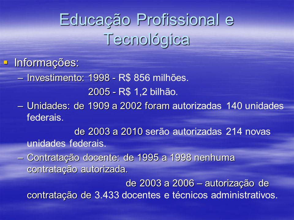 Educação Profissional e Tecnológica Informações: Informações: –Investimento: 1998 - –Investimento: 1998 - R$ 856 milhões. 2005 - 2005 - R$ 1,2 bilhão.