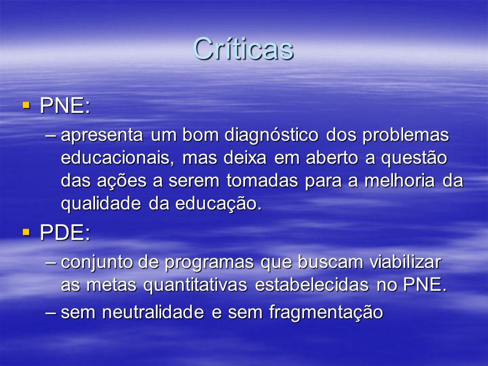 Críticas PNE: PNE: –apresenta um bom diagnóstico dos problemas educacionais, mas deixa em aberto a questão das ações a serem tomadas para a melhoria d
