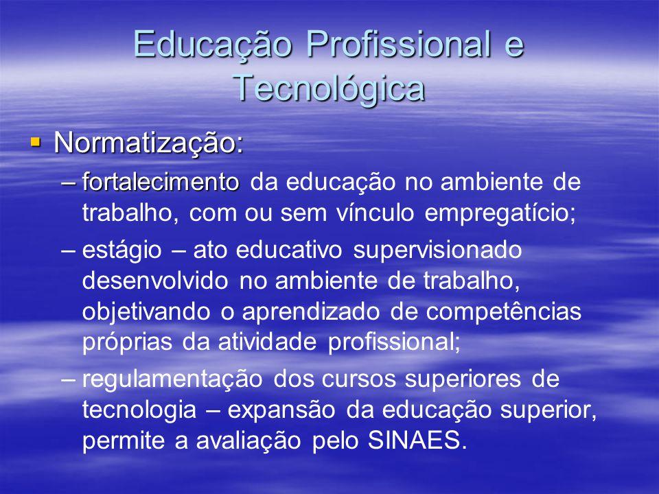 Educação Profissional e Tecnológica Normatização: Normatização: –fortalecimento –fortalecimento da educação no ambiente de trabalho, com ou sem víncul