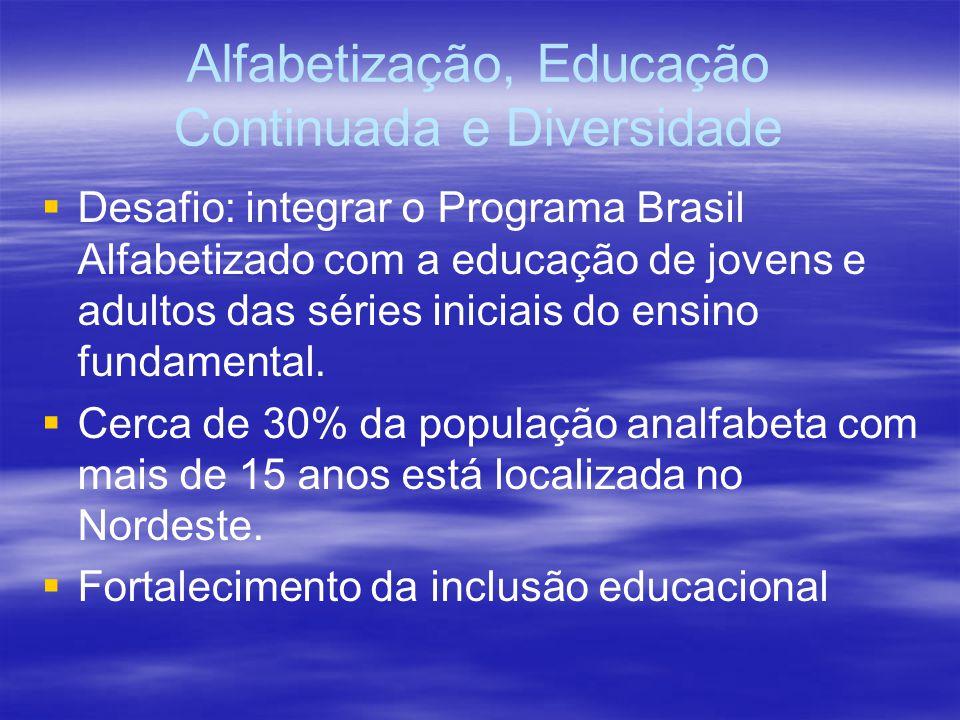 Alfabetização, Educação Continuada e Diversidade Desafio: integrar o Programa Brasil Alfabetizado com a educação de jovens e adultos das séries iniciais do ensino fundamental.