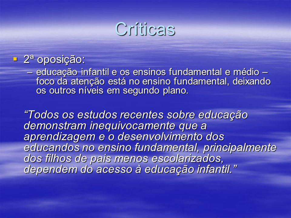 Críticas 2ª oposição: 2ª oposição: –educação infantil e os ensinos fundamental e médio – foco da atenção está no ensino fundamental, deixando os outros níveis em segundo plano.
