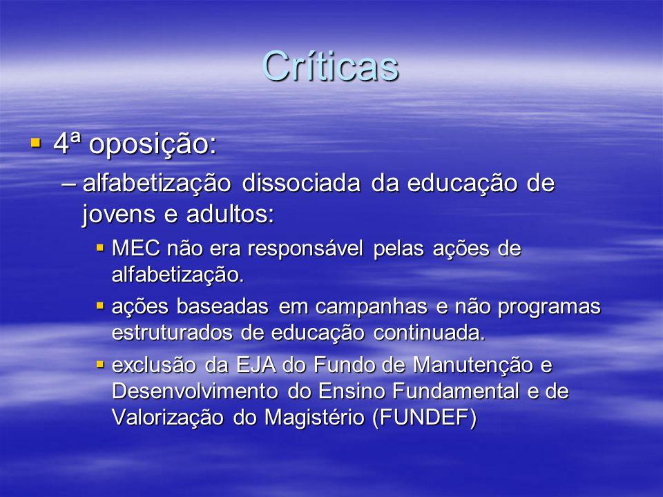 Críticas 4ª oposição: 4ª oposição: –alfabetização dissociada da educação de jovens e adultos: MEC não era responsável pelas ações de alfabetização. ME