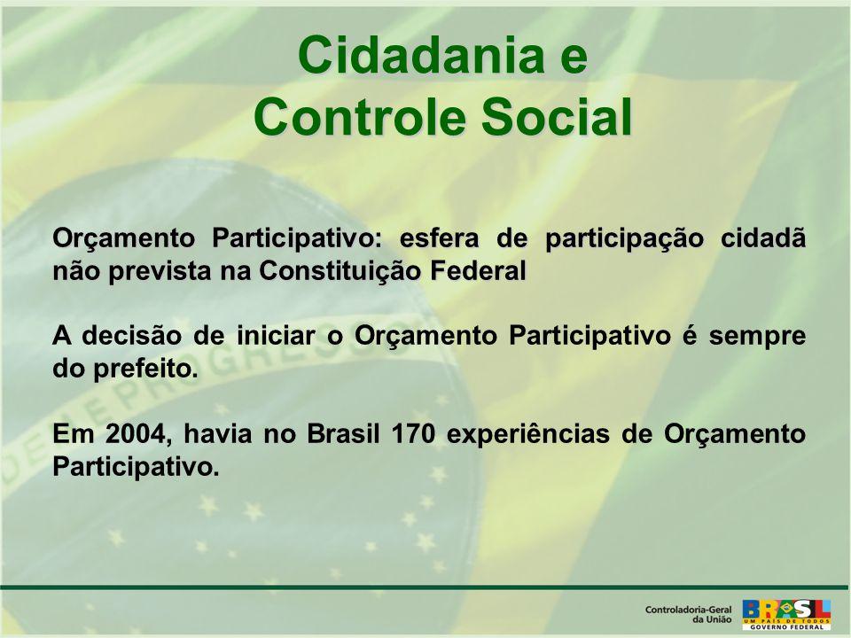 Cidadania e Controle Social Orçamento Participativo: esfera de participação cidadã não prevista na Constituição Federal A decisão de iniciar o Orçamento Participativo é sempre do prefeito.