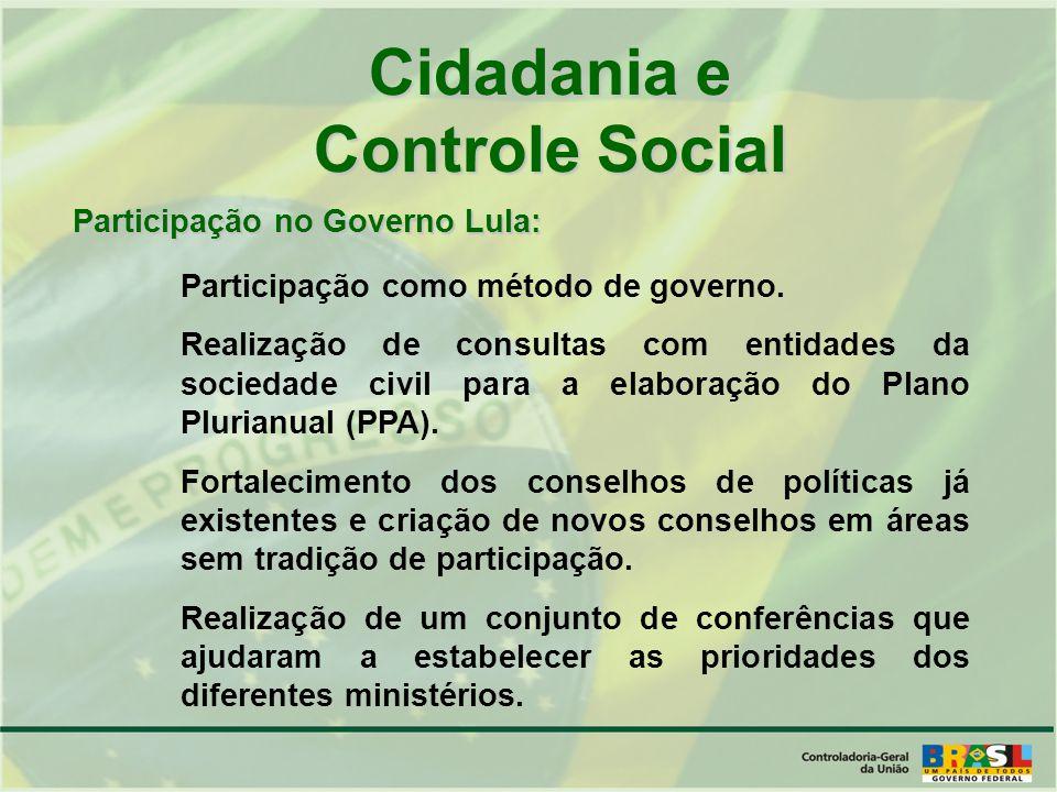 Cidadania e Controle Social Participação no Governo Lula: Participação como método de governo.
