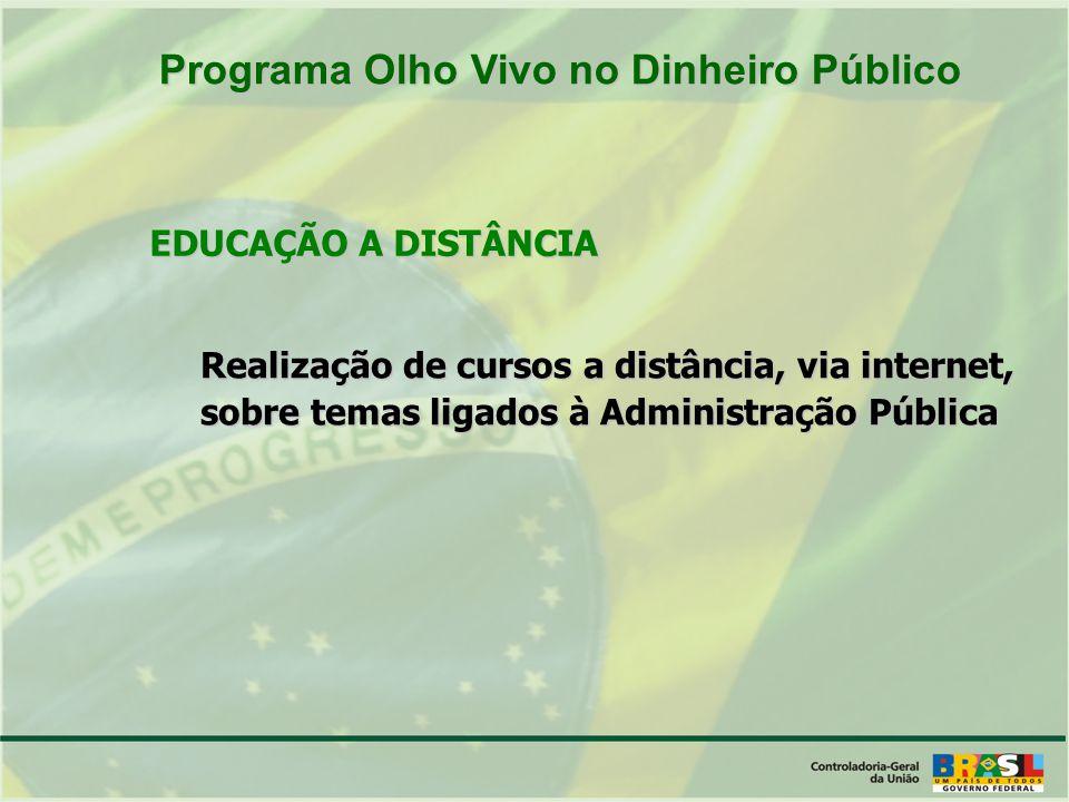 Realização de cursos a distância, via internet, sobre temas ligados à Administração Pública EDUCAÇÃO A DISTÂNCIA Programa Olho Vivo no Dinheiro Público Programa Olho Vivo no Dinheiro Público