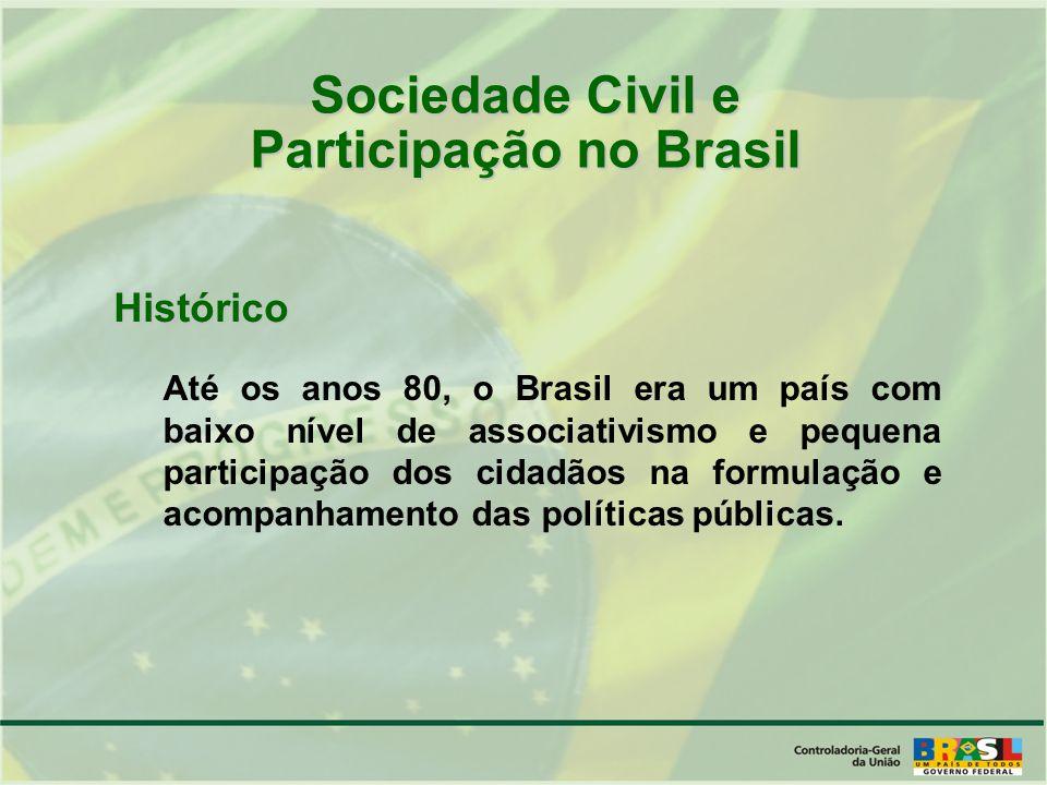Sociedade Civil e Participação no Brasil Histórico Até os anos 80, o Brasil era um país com baixo nível de associativismo e pequena participação dos cidadãos na formulação e acompanhamento das políticas públicas.