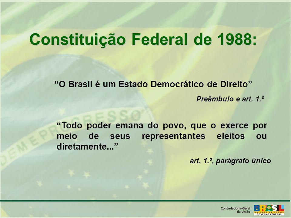 O Brasil é um Estado Democrático de Direito Todo poder emana do povo, que o exerce por meio de seus representantes eleitos ou diretamente...