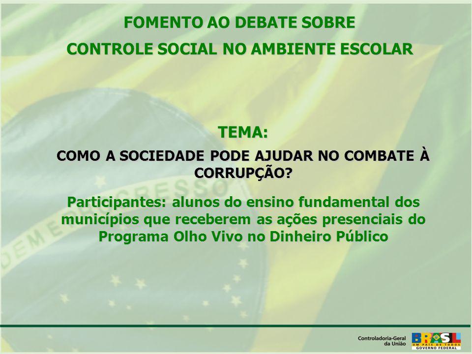 TEMA: COMO A SOCIEDADE PODE AJUDAR NO COMBATE À CORRUPÇÃO.