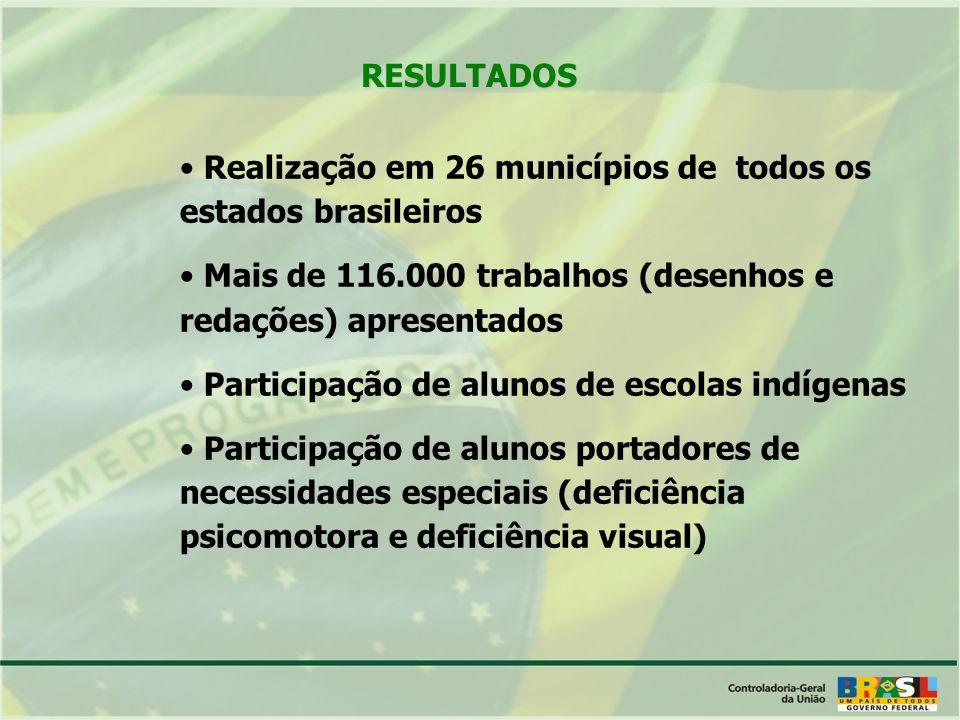 RESULTADOS Realização em 26 municípios de todos os estados brasileiros Mais de 116.000 trabalhos (desenhos e redações) apresentados Participação de alunos de escolas indígenas Participação de alunos portadores de necessidades especiais (deficiência psicomotora e deficiência visual)