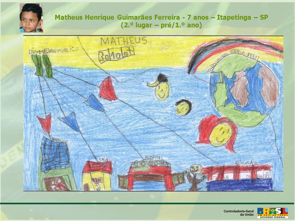 Matheus Henrique Guimarães Ferreira - 7 anos – Itapetinga – SP (2.º lugar – pré/1.º ano)