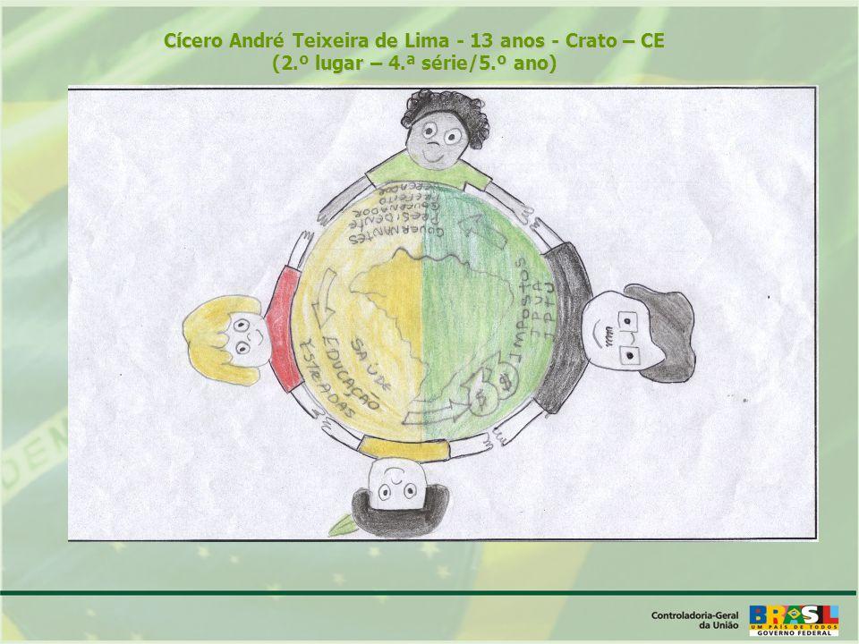Cícero André Teixeira de Lima - 13 anos - Crato – CE (2.º lugar – 4.ª série/5.º ano)